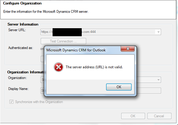 CRM 2011 Outlook Client Server Address (URL) is not Valid - CRM
