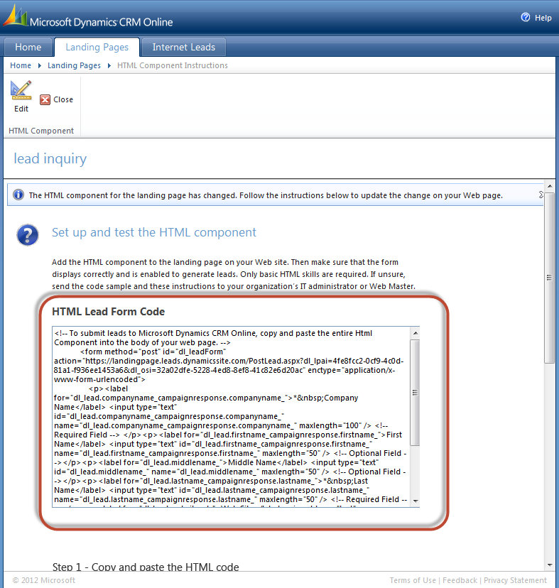 Microsoft Dynamics CRM Internet Lead Capture