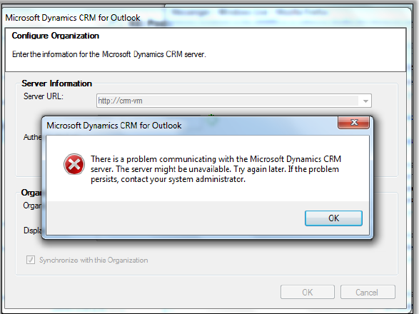 Dynamics CRM 2011 Outlook Server Error