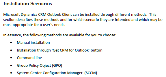 Dynamics CRM 2011 Outlook Installation Methods