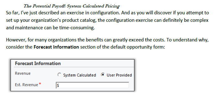 Opportunity Record System Calculated vs User Provided Pricing