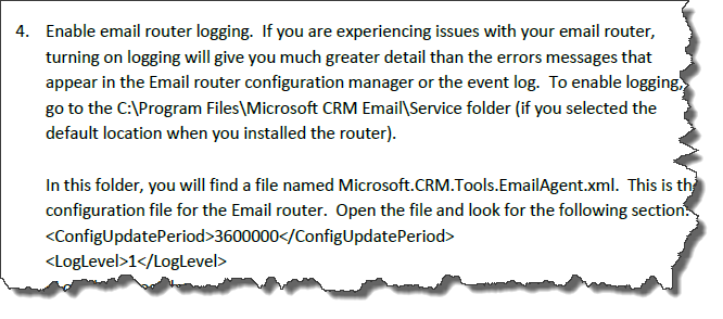 CRM 2011 Email Router Enable Logging