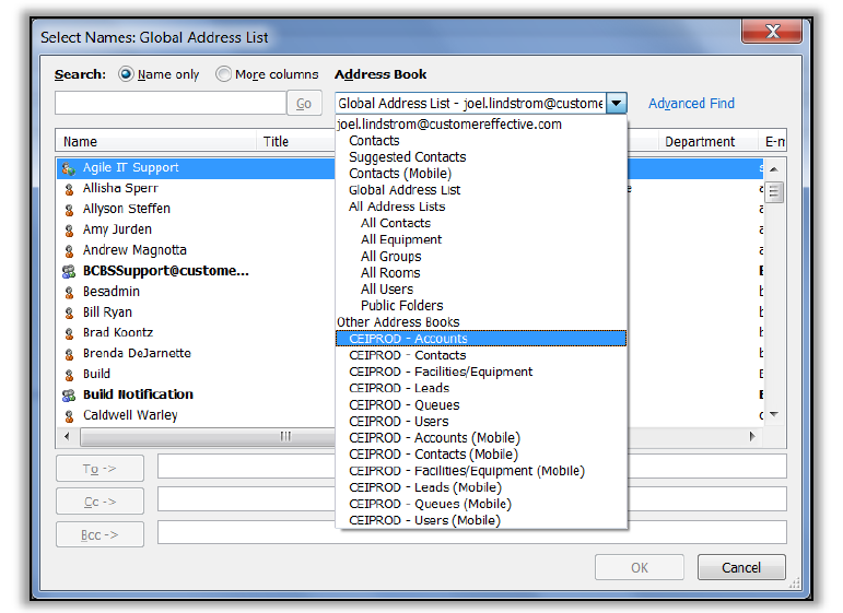 CRM Outlook Address Book