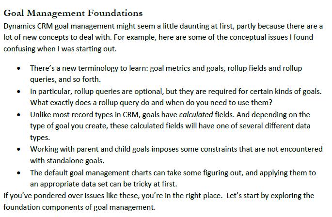CRM 2011 Goal Foundations