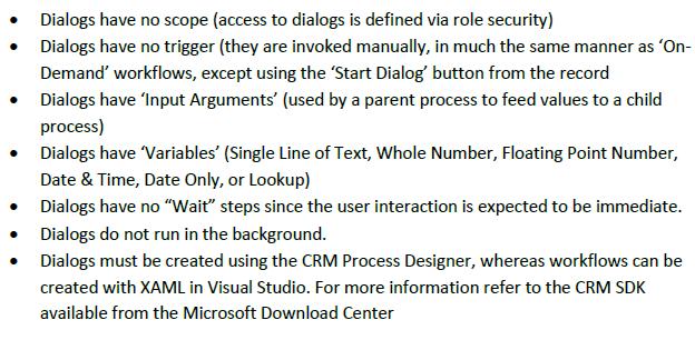 Workflows vs Dialogs Key Differences