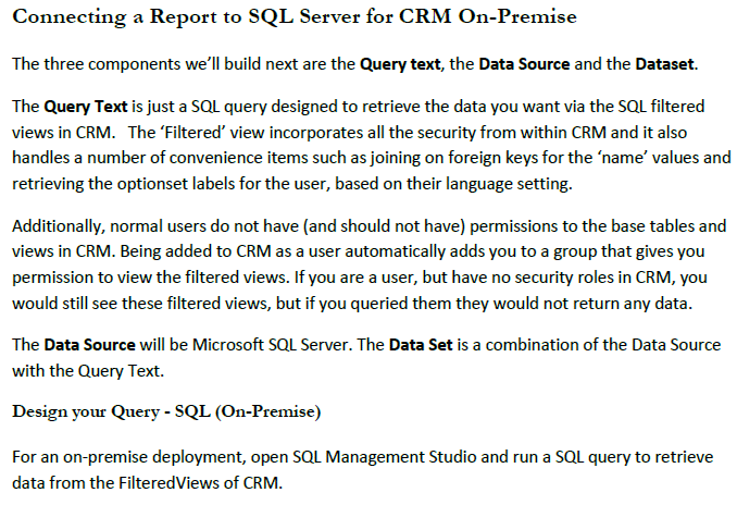 Connecting a Report to SQL Server for CRM OnPremise