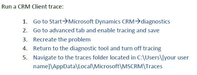 CRM Client Trace
