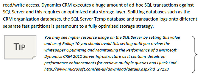 Optimize SQL Server for CRM 2011