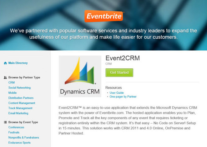 Event management integration with Eventbrite and Microsoft Dynamics CRM