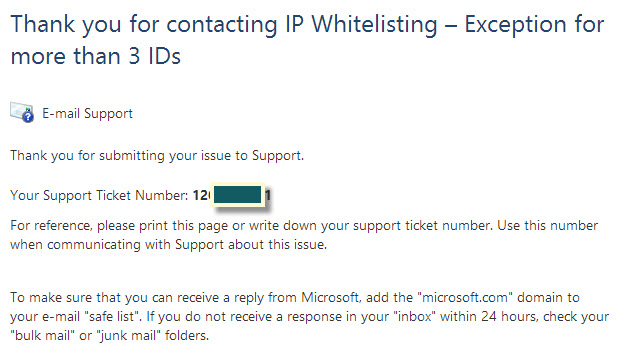 Live ID Whitelisting confirmation email