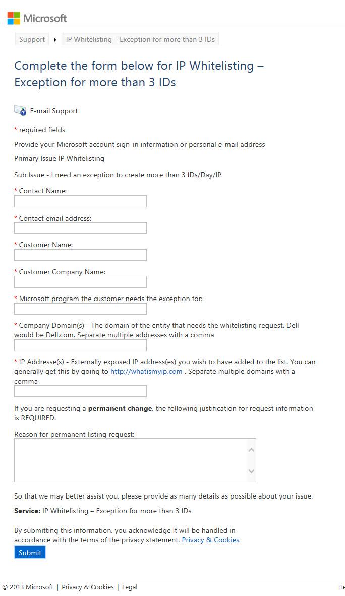 Windows Live ID Whitelisting Form