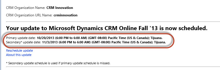 Dynamics CRM 2013 Fall Release Commit Date