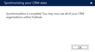 Outlook CRM Add-n Sync Message Success