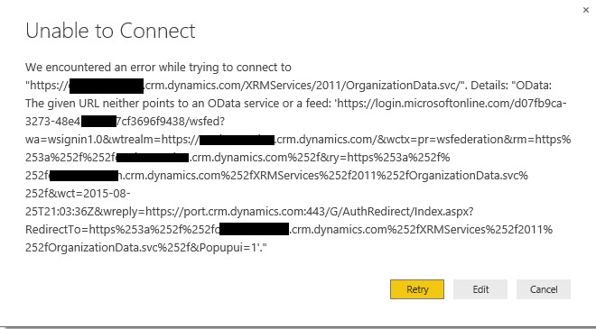 PowerBI Unable to Connect Error