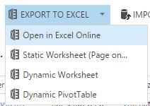 Export to Excel no Static Export