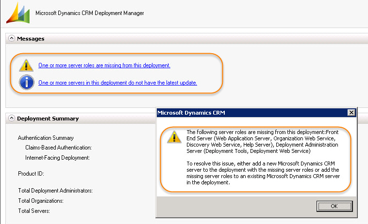 CRM 2011 Deployment Manager One or more server roles are missing from this deployment