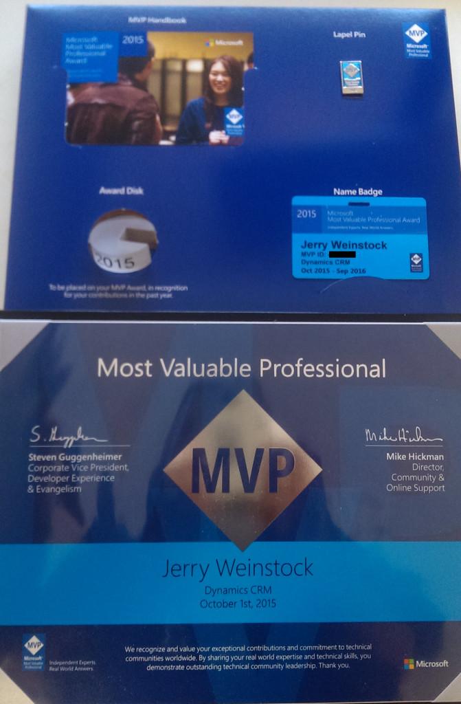 Dynamics CRM MVP Award Packet