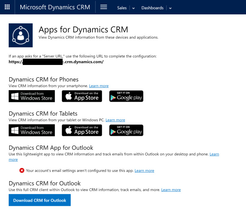 Apps for Dynamics CRM 2016