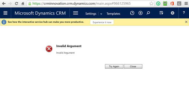 Invalid Argument Error – Email Templates Window