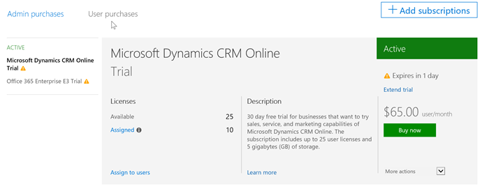 CRM Online 30 day trial pending expiration