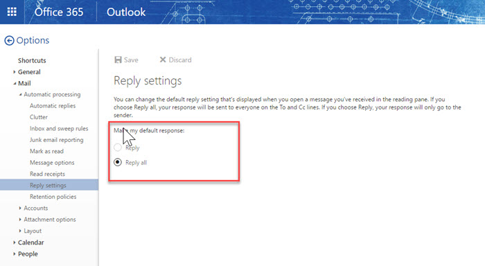 Outlook Reply vs Reply All Settings