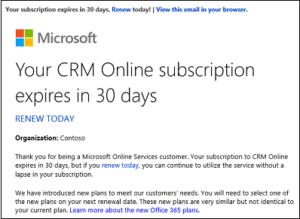 CRM Online Subscription Expiration Notice