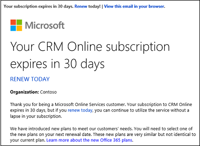 CRM Online Subscription Expiration Notice