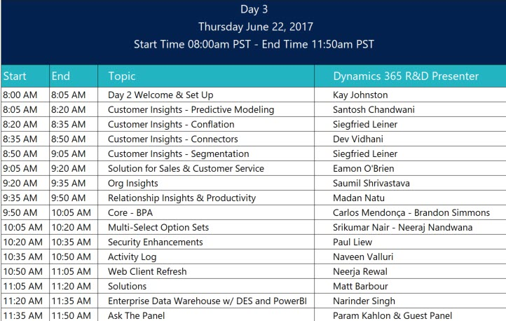 Preview Executive Briefing for July 2017 Update for Dynamics 365 Day 3