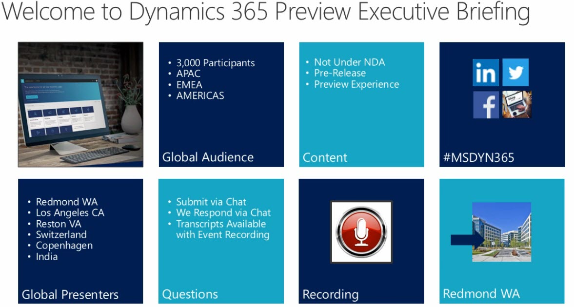 Microsoft Dynamics 365 July 2017 Release Executive Briefing