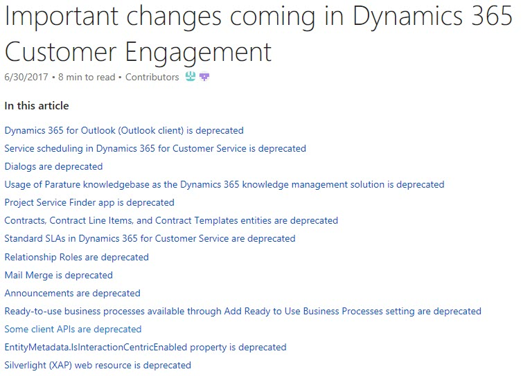 Dynamics 365 Feature Deprecation