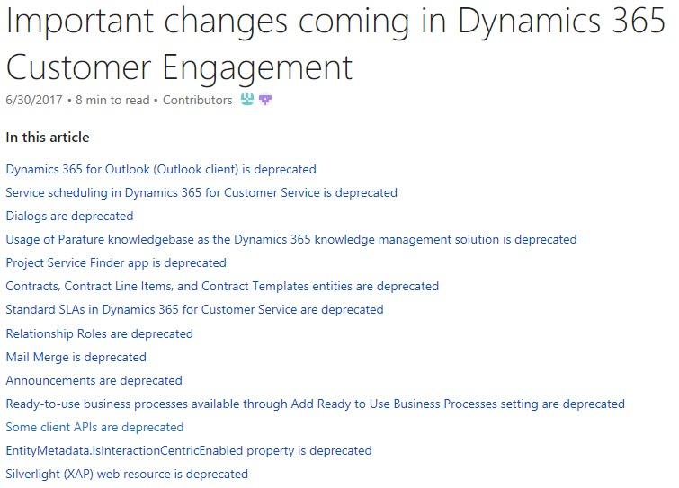 Dynamics 365 Feature Deprecation