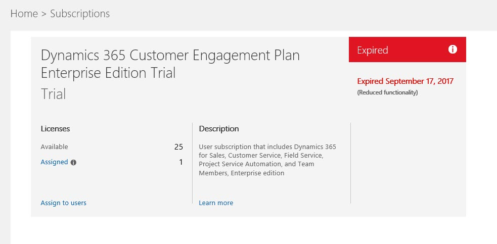 Dynamics 365 Online Expired Subscription