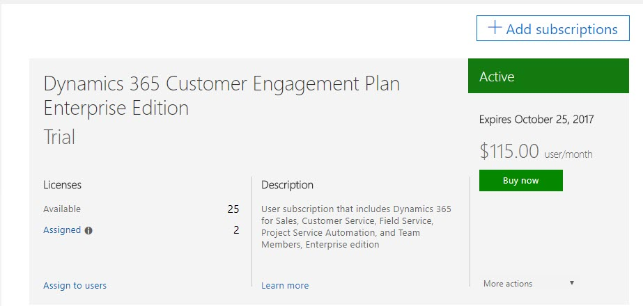 Microsoft Dynamics 365 Trial Extension Success