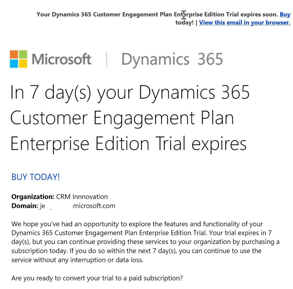 Extending your Dynamics 365 Online Subscription - CRM