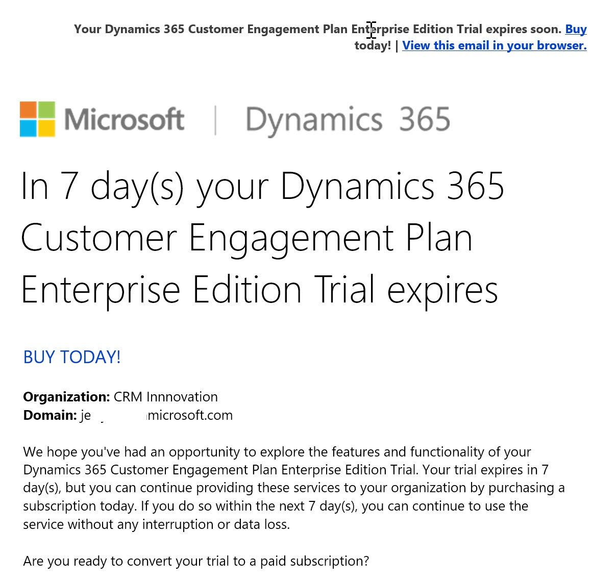 Microsoft Dynamics 365 Online Subscription Expiration Notice