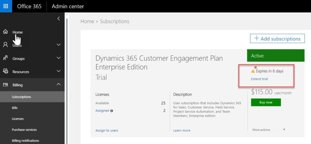 Extending your Dynamics 365 Online Subscription