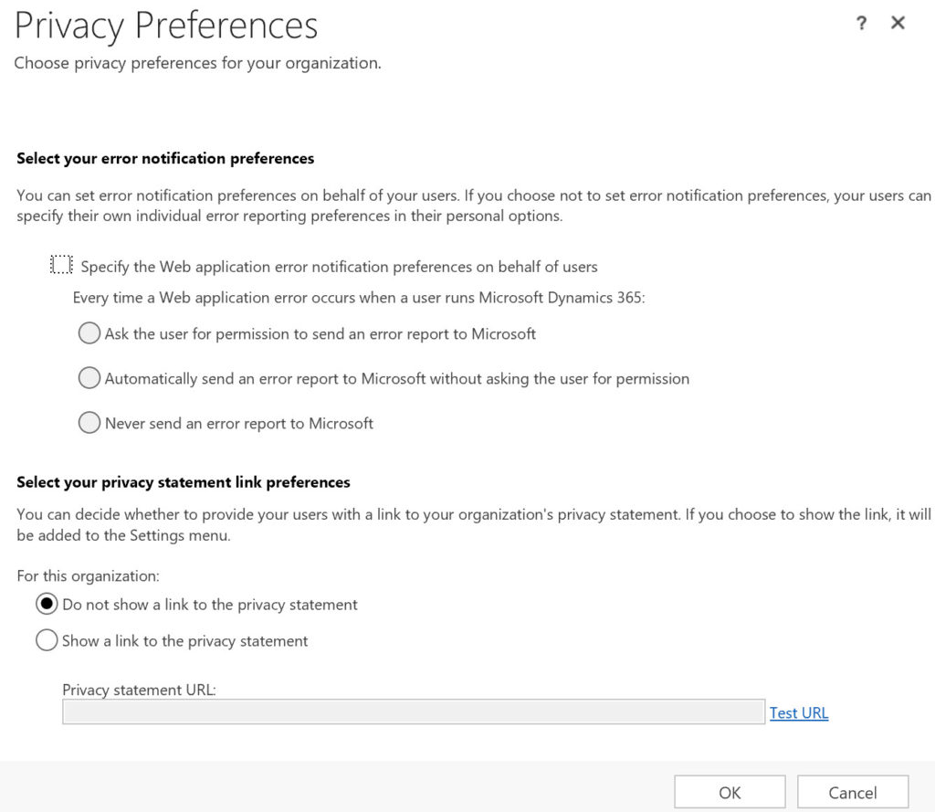 Dynamics 365 Privacy Preferences