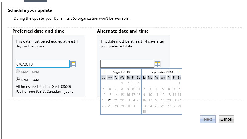 CRM Online Upgrade Scheduling Alternate Date