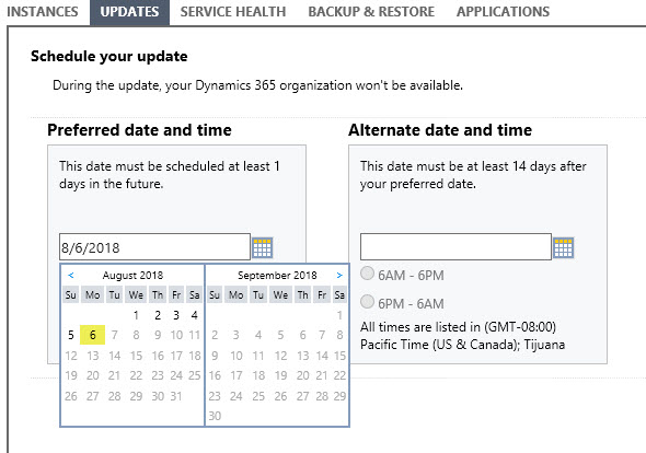 CRM Online V9 Scheduling Preferred Date