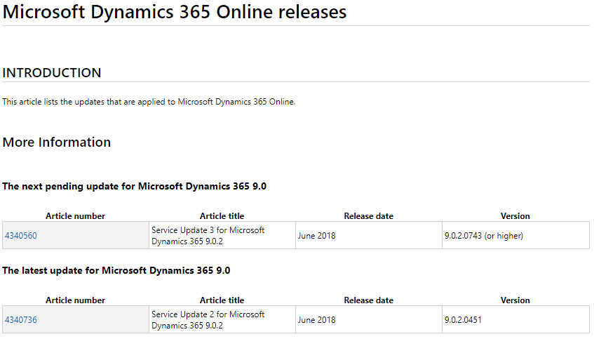 Dynamics 365 Release Updates