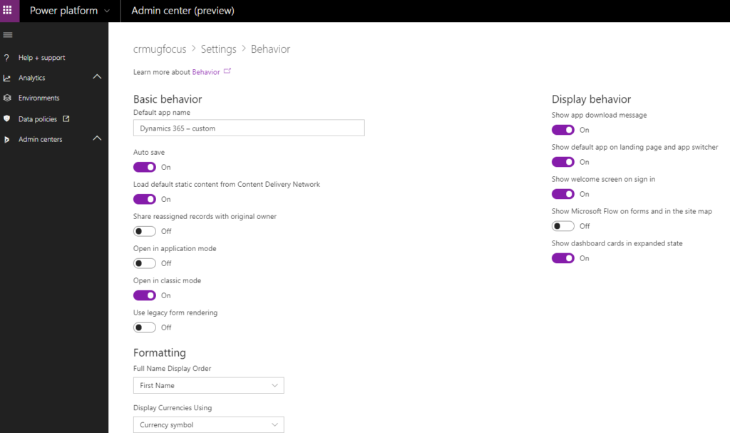 Power Platform admin center Environments Panel