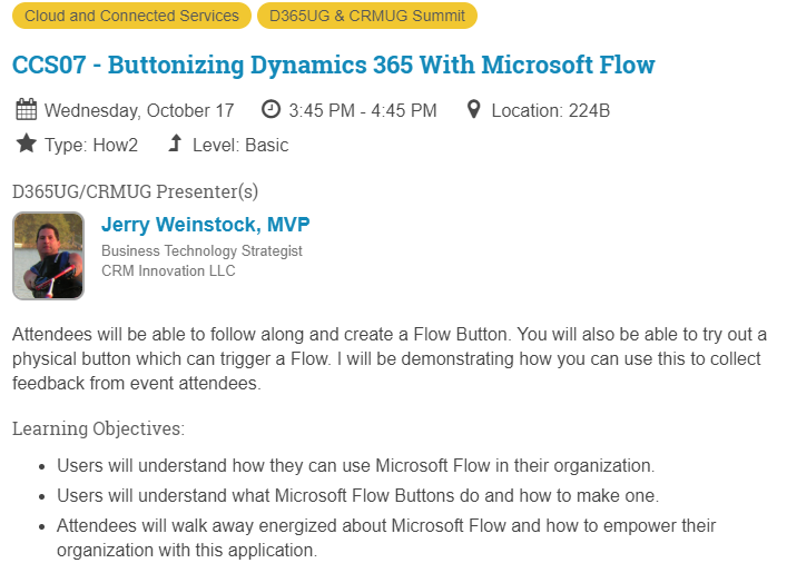 CRMUG Summit Buttonizing Dynamics 365