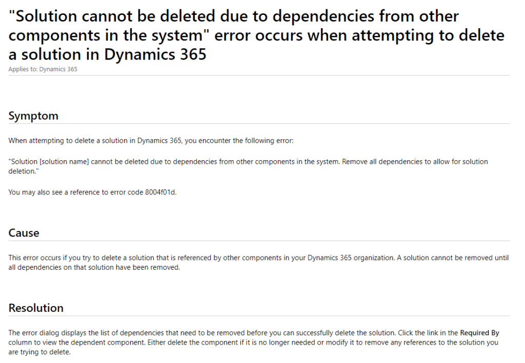 Dynamics 365 Managed Solutions Dependency Fix