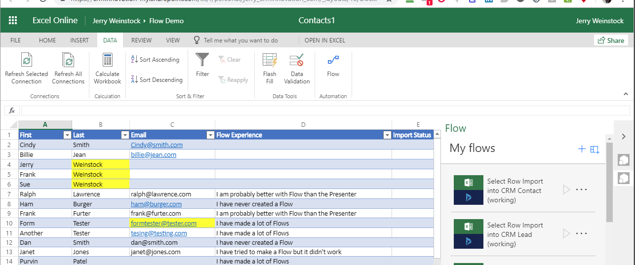 Microsoft Flow Select Excel Row