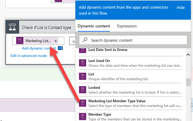 Microsoft Flow Condition Check Marketing List Type