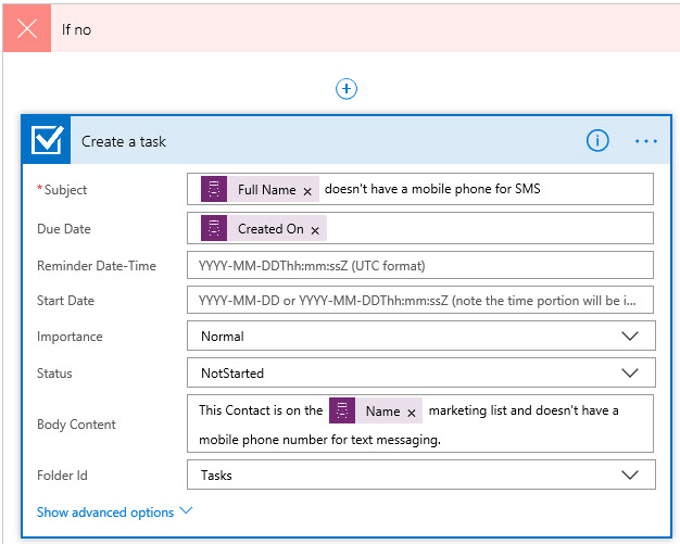 Microsoft Flow Create Outlook Task