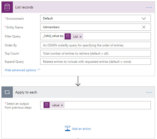 Microsoft Flow Retrieving N:N Relationship