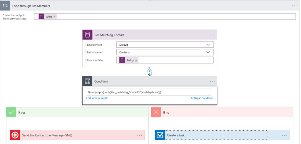 Microsoft Flow Condition Check is Attribute not empty