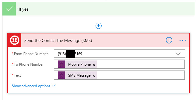 Microsoft Flow Twilio Send SMS