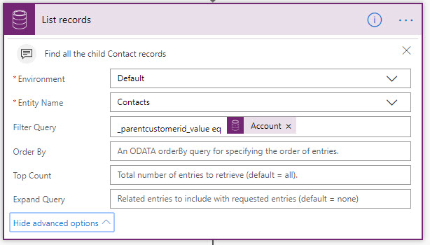 Update Child Records in Dynamics 365 using Microsoft Flow